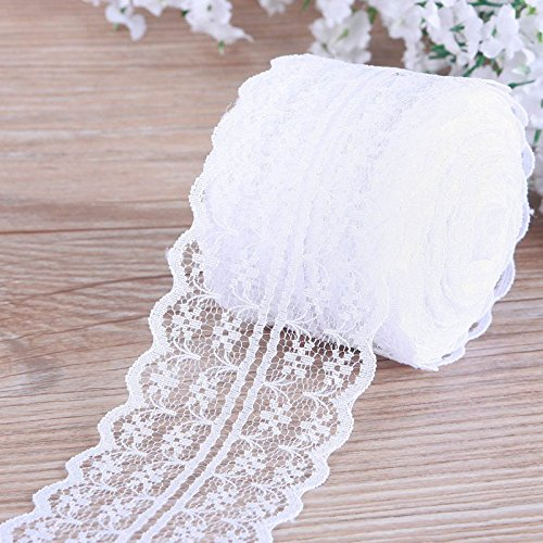 White Lace Roll,Lace Ribbon,Vintage Style Scalloped Edge Lace Ribbon DIY for Craft Lace(4.5CM Width 25 Yards) ()