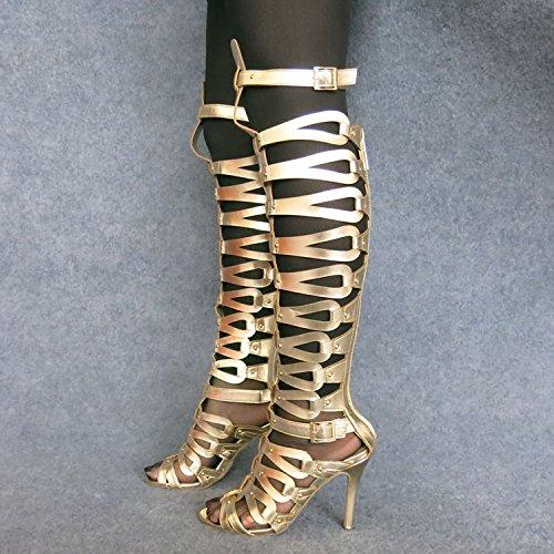 Signore Roma Caramelle Delle Eccellenti Scavate Delle Donne D'oro Xing Super Sandali Lin Stivali Dell'alto Tallone Colore Fashion Sandali qwxxC0AE