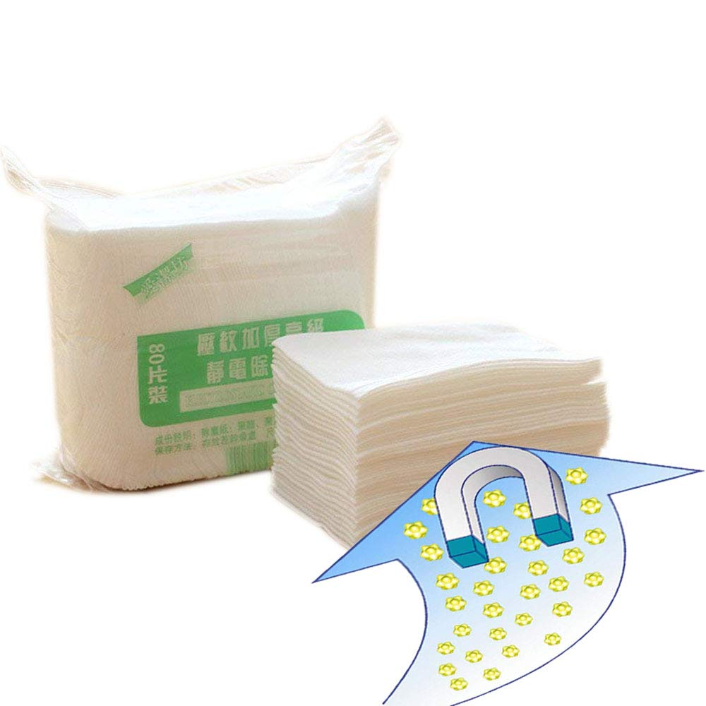 Baffect 80pcs Cleaning Paper Electrostatic Paper Mop Disposable Paper Clean Dust & Hair for Floor, Window, Camera, TV, Wall & Door