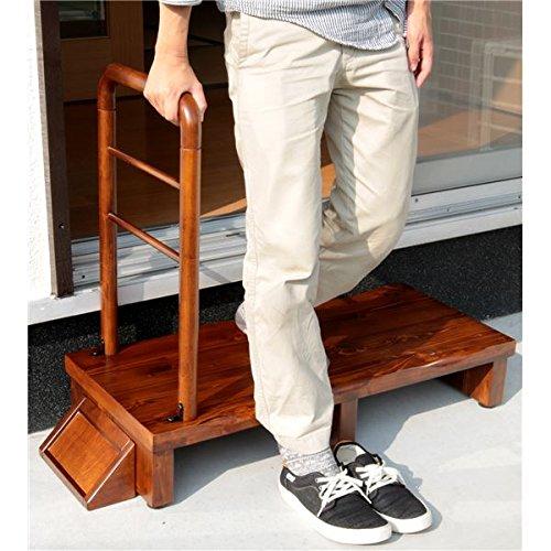 手すり付きうずくり玄関台 (ステップ/踏み台) 幅90cm アジャスター付き 〔組立品〕 B0793NMX1N