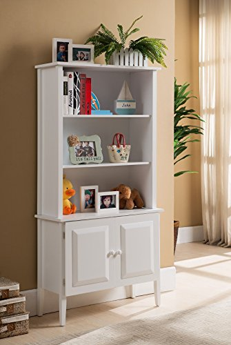 Kings Brand Furniture Wood Bookcase with Doors, - White Bookcase Cabinet
