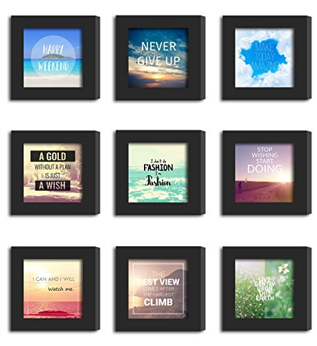 9Pcs 4x4 Real Glass Wood Frame Black Fit Family Image Pictures Photo (Window 3.6 x 3.6 inch ) Desktop Stand or Wall Hang Family Combine Square Green Forest Leaf Grass Landscape Decoration (19-27) by Smart Wall Station (Image #5)