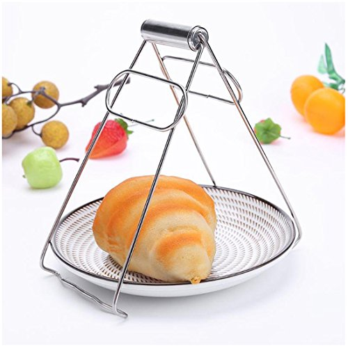 ATK Kitchen Plate Gripper, Cookware Accessories, Stainless Steel Foldable Hot Dish Lifter and Retriever, Bowl Clip Pots Crockery Holder Clamp Tongs, 18.5cm Silver ()