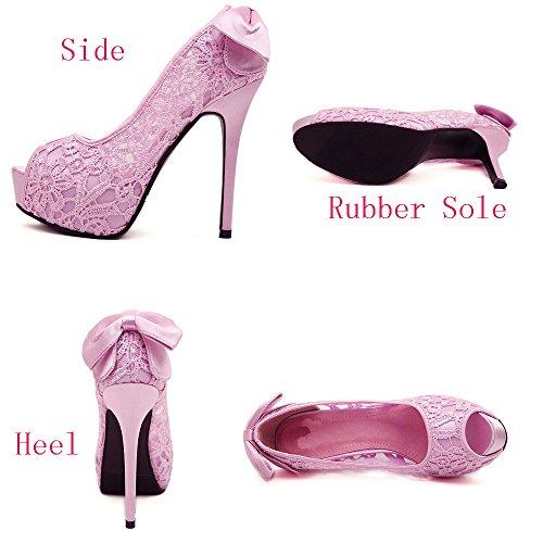 Donalworld Women Lace Up Crystal Sandals High Heel Wedding Sandals Pink2 46Xh1eTlK9
