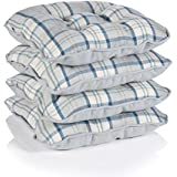 Lewis Tartan Check Piped Chunky Dining Kitchen Seat Pads, Ocean - Set of 4 by Dove Mill Kitchen
