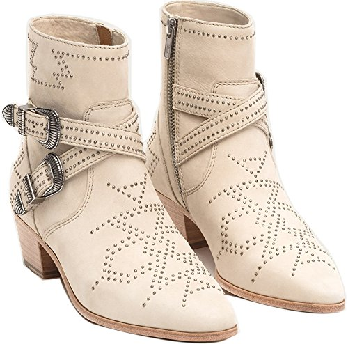 FRYE Womens Ellen Deco Buckle Short Ankle Boot Ivory outlet cheap quality how much sale online KGmpP3ewO