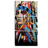 GOUPSKY Native American Painting Indians Canvas Feathered Headdress Women Girl Hallway Living Room Colorful Watercolor Framed Pictures 12x18inchx3pcs