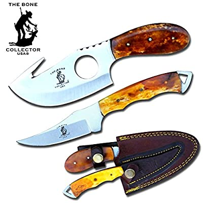 "Bone Collector Hunting Knife Two Piece Set, 7"" Straight Edge and 7"" Gut Hook Blades Yellow Bone Full Tang Skinner"