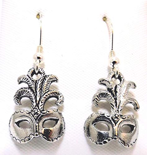 (Pewter Mardi Gras Mask Charms on Sterling Silver Ear Wire Dangle Earrings -5029 for Jewelry Making Bracelet Necklace DIY)