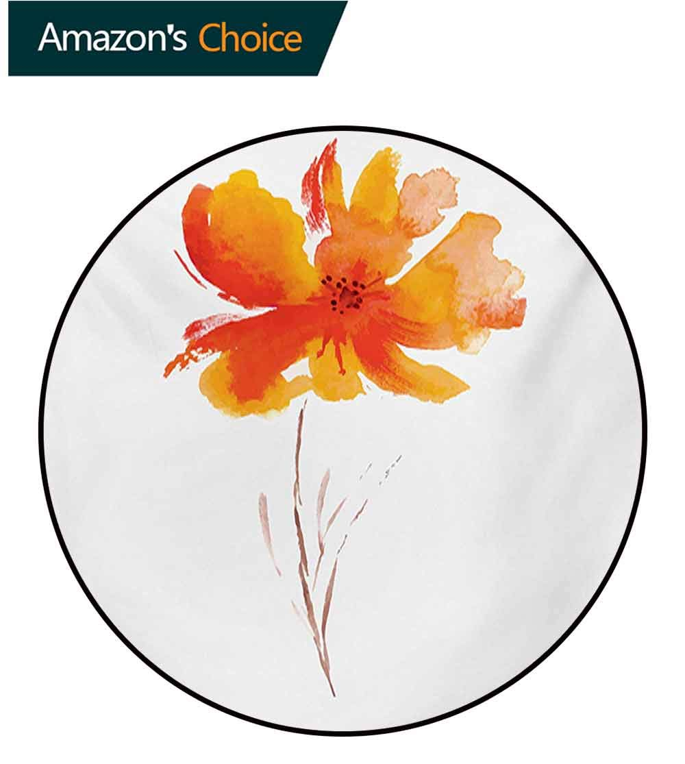 RUGSMAT Watercolor Flower Machine Washable Round Bath Mat,Single Poppy Flower On Plain Clear Background Nature Inspired Romantic Non-Slip No-Shedding Bedroom Soft Floor Mat,Diameter-71 Inch by RUGSMAT (Image #3)