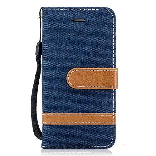 Funda para iPhone 5/5S/SE,MAGQI Cowboy Flip Billetera Carcasa [Estilo de Negocios] Función de Soporte Ranura para Tarjetas Cierre Magnético Parachoques Portátil Case - Azul Oscuro Azul Oscuro