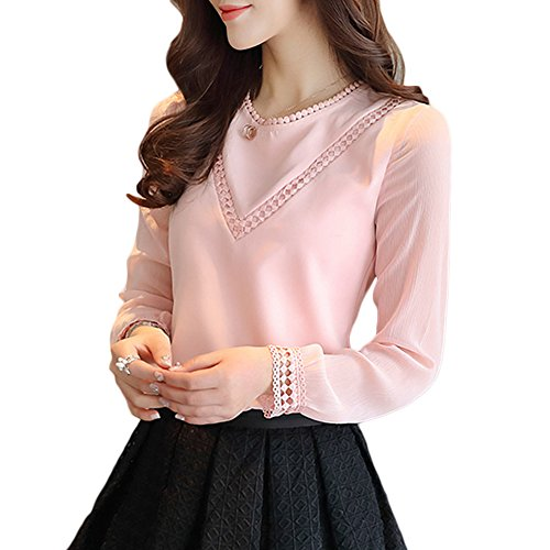 Elegant Pink Lace (Women's Hollow Out Design with Lace Crochet Elegant Long Sleeve Trim Blouse (S, Pink Chiffon))