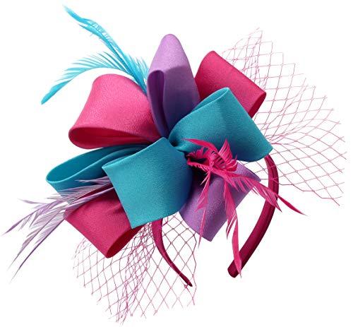 Myjoyday Fascinator Hats for Women Tea Party Wedding Headband Feather Cocktail Headwear Hair Clip for Girls (Blue&Rose&Light Purple)