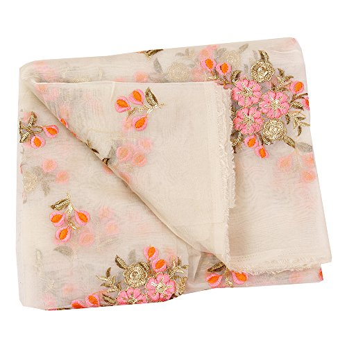 Shopolics White-Pink and Golden Floral Design Embroidery Silk Organza Fabric-50042 for Wedding, Festival, Party Wear (1 Yard)