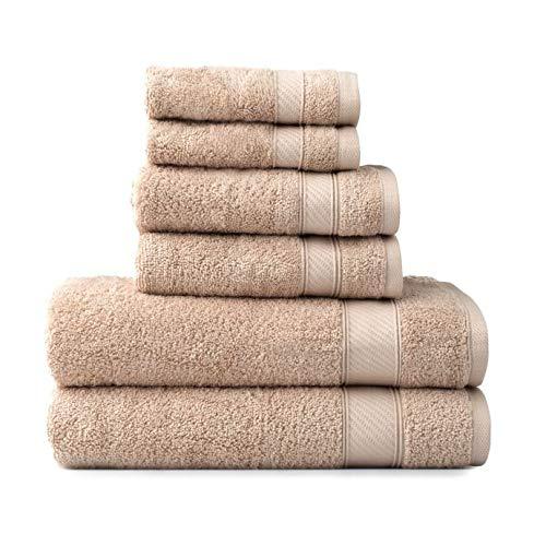 Wamsutta 6-Piece Hygro Duet Bath Towel Set Includes Washcloths,Hand Towels Bath Towels (Sand)