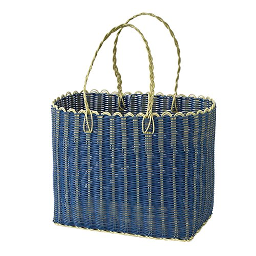- Time Concept Chore PE Straw Wide Picnic Basket - Blue - Wicker Grocery Bag, Multipurpose Tote