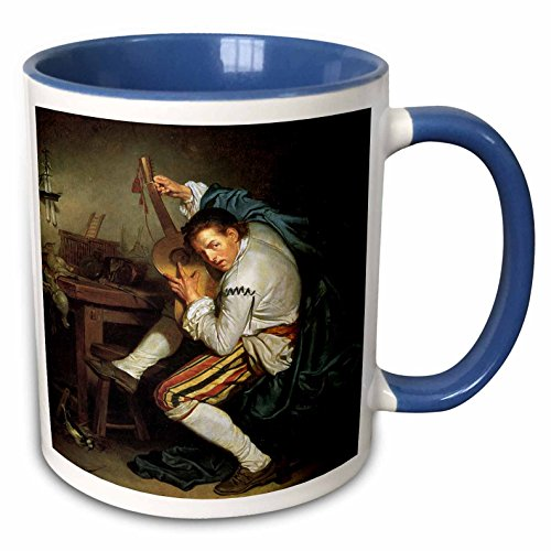 3dRose BLN Music Featured in Fine Art Collection - The Guitarist, c. 1760 by Jean Baptiste Greuze Man Playing a Guitar - 15oz Two-Tone Blue Mug (mug_172078_11) ()