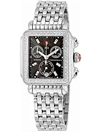Signature Deco Black Dial Diamond Bezel Stainless Steel Ladies Watch MWW06P000171