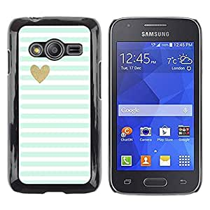 Paccase / SLIM PC / Aliminium Casa Carcasa Funda Case Cover para - Green Mint Gold Heart Love Stripes White - Samsung Galaxy Ace 4 G313 SM-G313F