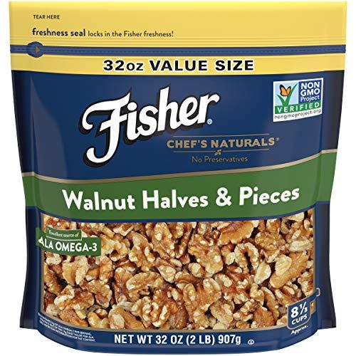FISHER Chef's Naturals Walnut Halves & Pieces, No Preservatives, Non-GMO, 32 oz