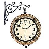 SUNQIAN-Double room clock clock, mute fashion modern creative, two large iron wood clock