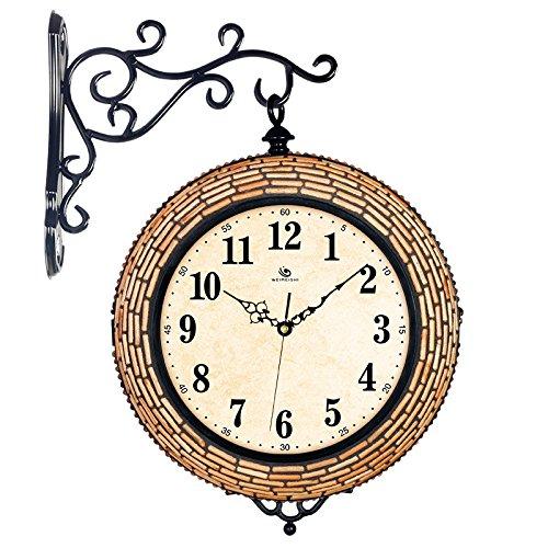 SUNQIAN-Double room clock clock, mute fashion modern creative, two large iron wood clock by SUNQIAN