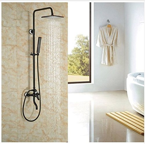 Gowe Single Lever Bathroom Wall Mounted Shower Set 8-in Square Shower Head With Hand Shower Mixer Tap 0