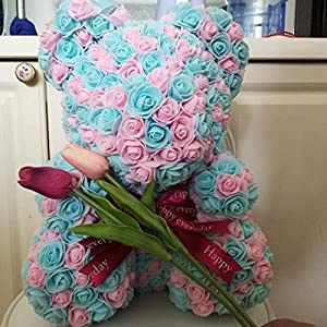 Netstore Limited Edition Mix 45cm Mothers Day Rose Bear Pink and Blue Teddy Bear Artificial Roses Faux Rose Gift 43