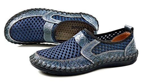 Shinysky Uomo Slip-on Scarpe Da Ginnastica Casual Scarpe Da Passeggio In Maglia Blu