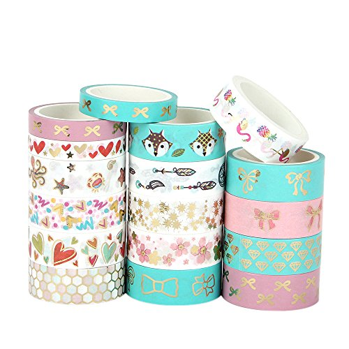 - DALIBOR SILVIA 17 Rolls Foil Washi Tape - Gold & Colored Bow Designs Masking Tape for DIY Craft Scrapbooking Planner