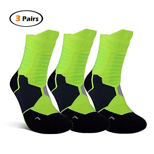 - Basketball Arch Support Socks,Performance Cotton Cushioned Protective Dri-Fit Compression Athletic Ankle Socks for Men Women Boy Girl (3 Packs,Green)