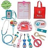 Tresbro Wooden Toys Doctor Set ,15 Pieces Dentist Kit Kids, Funny Dentist Pretend Play Medical Kit Stethoscope Kids Doctor Roleplay Costume Dress-up