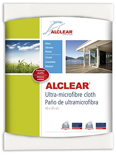 ALCLEAR 950002 Ultra-microfiber Cloth for Window, glass cleaning and clear water - nothing else! White. Size: 23.62 x 17.72 in