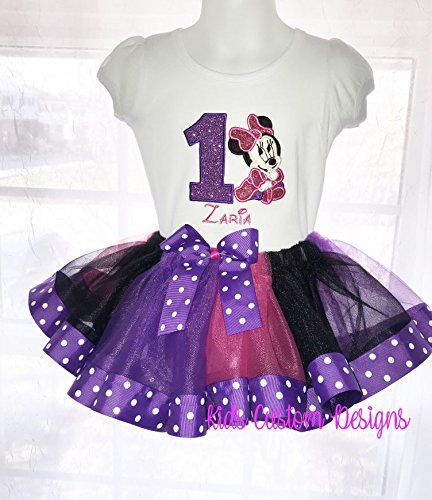 Baby Minnie Mouse Pink Purple Birthday Ribbon Tutu Outfit Shirt Or Bodysuit Silver Glitter