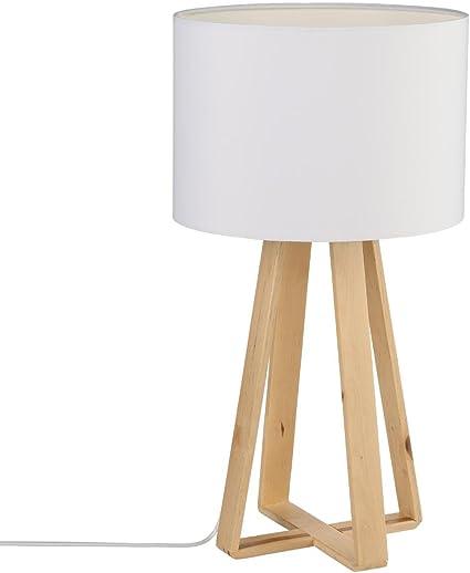 Lámpara de mesa con pie de madera natural, pantalla de color BLANCO: Amazon.es: Hogar