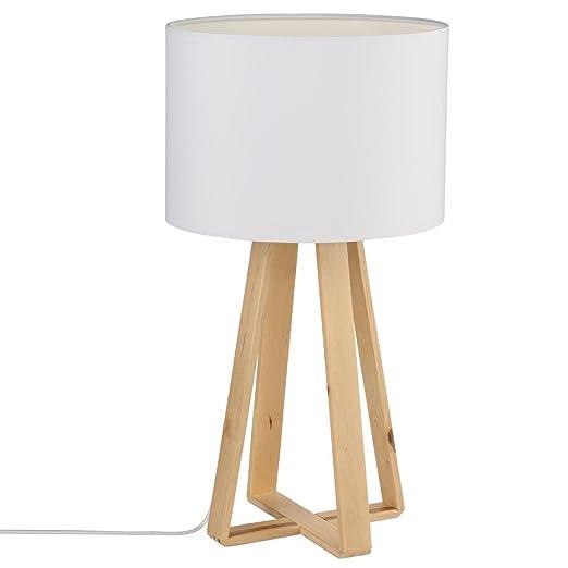 Table lamp, natural wood frame, WHITE lampshade: Amazon.co.uk: Lighting