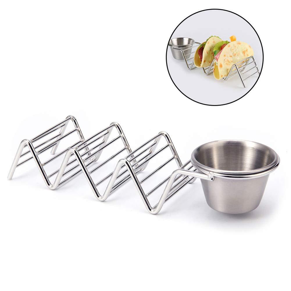 Flyes Pancake rack in acciaio inox messicano Taco Holder cibo stand salsa tazze cibo rack scaffale