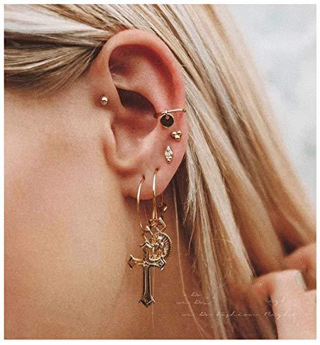 (ACC PLANET Cross Earrings 14K Gold Plated Dangle Vintage Hoop Cross Earrings for Women)