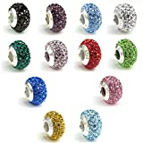 925 Sterling Silver Round Birthday Crystal Bead for European Charm Bracelets