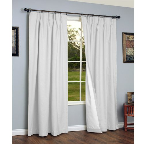 Thermalogic Weathermate Insulated Solid Pinch Pleat Curtain Pair-White, 72 x 84 (Textured Thermal Pinch Pleated Drape)