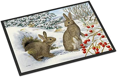 Caroline s Treasures ASA2181MAT Winter Rabbits Indoor or Outdoor Mat 18×27, 18H X 27W, Multicolor