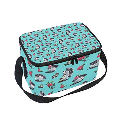 Lunch Bag Cooler Tote Bag Hedgehogs Mushrooms Apples Lunchbox Meal Prep Handbag for Picnic School Women Men Kids ()