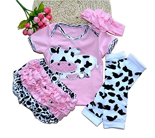 Reborn Doll Clothes For 20- 23 Inch Reborn Doll Girl Baby Clothing Pink Dairy Cow Four-Piece (Reborn Doll Clothes)