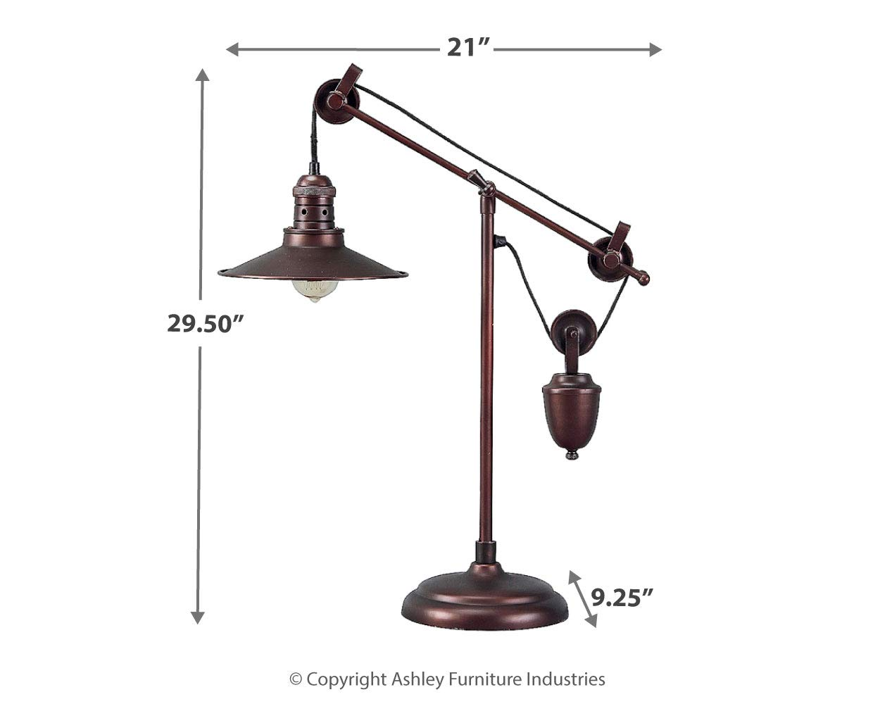 Ashley Furniture Signature Design - Kylen Desk Lamp with Metal Shade with in-Line Switch - Industrial - Bronze Finish by Signature Design by Ashley (Image #8)