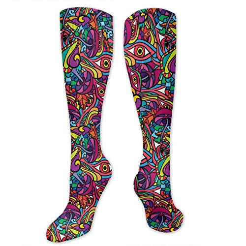U3GZ1YQAD 60s Hippie Psychedelic Art Pattern Men's Women's Compression Socks Knee High Crew Graduated Socks - Best for Athletic, Running, Gym, Football ()