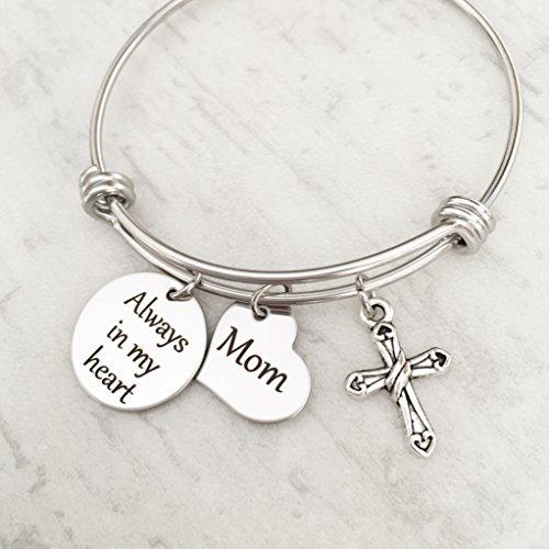 Always in my Heart Mom Memorial Bangle Bracelet