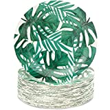 Blue Panda Tropical Paper Party Plates, 9 Inches (80 Count), Green Palm Leaves