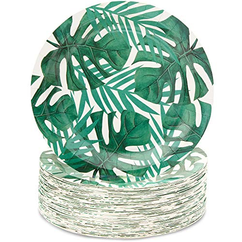 Safari Paper Plates (Blue Panda Tropical Paper Party Plates, 9 Inches (80 Count), Green Palm)