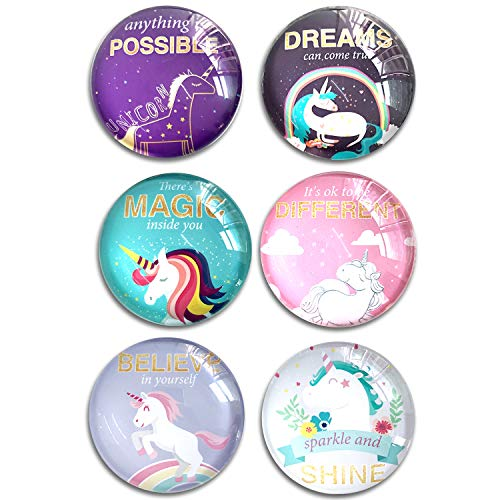 (Unicorn Quotes inspirational Refrigerator Magnets, set of six 4x4cm Unicorn gifts for kids, Whiteboard Magnets for classroom or Locker)
