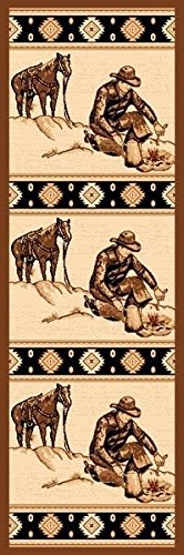 2X7 Runner Country Theme Camp Fire Cowboy Brown Tan Rug by Persian Rugs